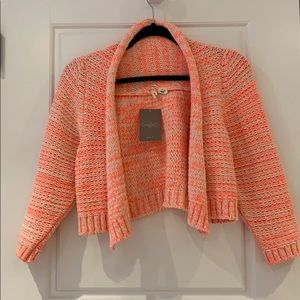 BNWT Anthropologie cropped pink sweater shrug